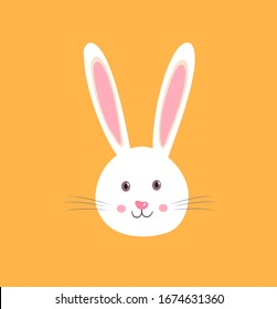Easter rabbit, easter Bunny.Hare head.Icon vector character,isolated on orange background.