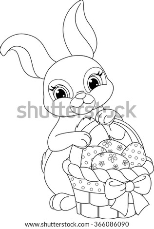 Easter Rabbit Coloring Page Stock Vector Royalty Free 366086090