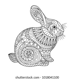easter rabbit coloring page adult 260nw