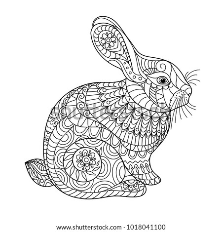 Easter Rabbit Coloring Page Adult Children Stock Vector (Royalty ...