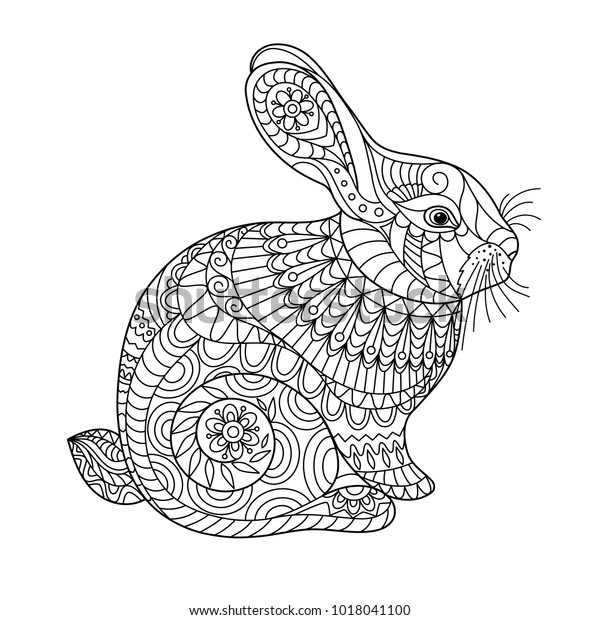 Easter Rabbit Coloring Page Adult Children Stock ...