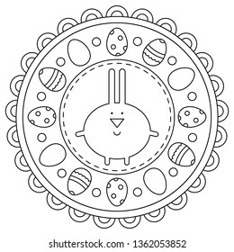 Easter. rabbit. Coloring page. Eggs. Vector illustration.