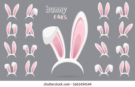 Easter Rabbit ears stickers collection. Set of masks bunny ear on transparent background. Big set. Vector illustration