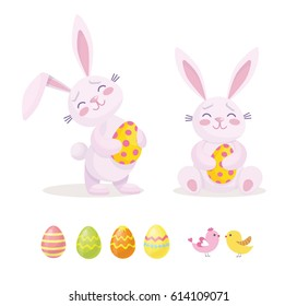 Easter rabbit with Easter egg. Vector illustration isolated.