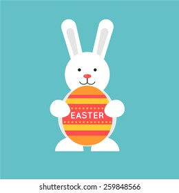 Easter rabbit holding an egg. Flat illustration.