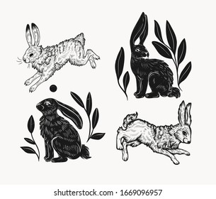 Easter rabbit isolated vector illustration in linocut style. Vintage stamp design of a bunny for print. Use for your creative graphic design projects, lithographs, postcards, invitations, tattoos.