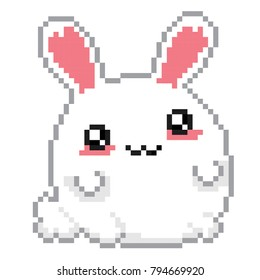 Easter rabbit. kawaii japanese style. Old school computer graphic. 8 bit video game.