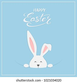 Easter rabbit with lettering Happy Easter on blue background, illustration.
