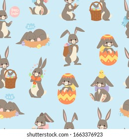 Easter rabbit seamless pattern background with cute bunnies, baby rabbit cartoon vector illustration. Easter rabbits for holiday or spring wrapping or textile.