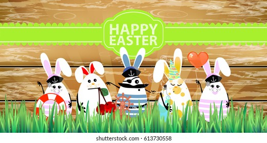 Easter. Rabbit-eggs with funny cute faces in the grass. On a wooden fence background. Captain at the head. Illustration for your design