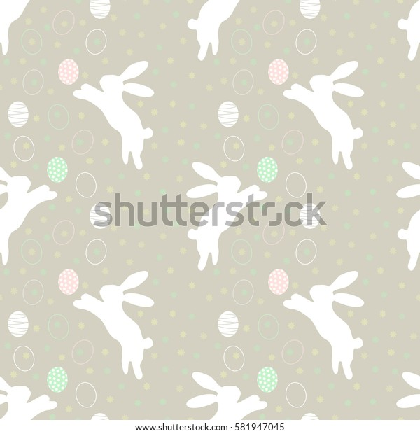 Easter rabbits and eggs. Pattern with easter Bunny. Vector illustration for Happy easter eps 10