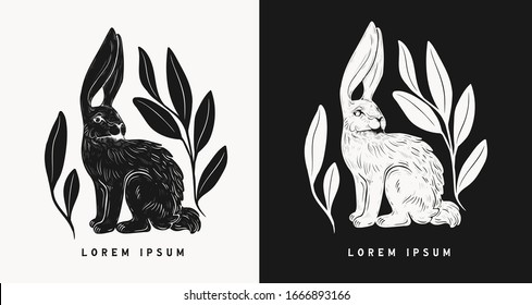 Easter rabbits isolated vector illustration set in linocut style. Vintage stamp design of a bunny for print. Use for your creative graphic design projects, lithographs, postcards, tattoos.
