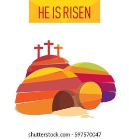 Easter Resurrection Cave Jesus Risen Congratulation postcard