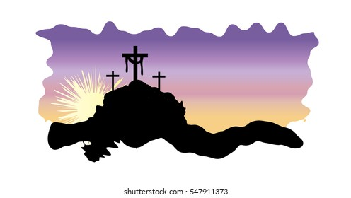 Easter resurrection religious holiday christian illustration with the Calvary hill silhouette and three crosses on Easter morning, with an empty tomb.