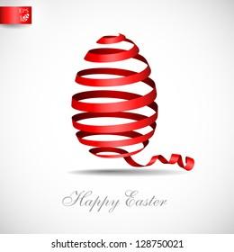 Easter ribbon egg. Vector illustration. Eps 10.
