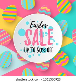 Easter Sale Up to 50% OFF banner with Paper Layered Easter Eggs. Holidays bargain advert for article, shopping sales card, voucher, add, deal layout. Discount seasonal poster. Vector illustration
