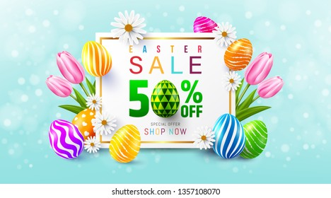 Easter Sale 50% OFF Poster and template with colorful Easter Eggs and flower on blue.Greetings and presents for Easter Day.Promotion and shopping template for Easter Day.Vector illustration EPS10