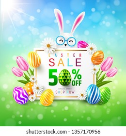 Easter Sale 50% OFF Poster and template with colorful Easter Eggs and flower.Greetings and presents for Easter Day.Promotion and shopping template for Easter Day.Vector illustration EPS10