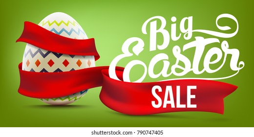 Easter sale advertising banner background with decorated egg and red ribbon realistic vector illustration
