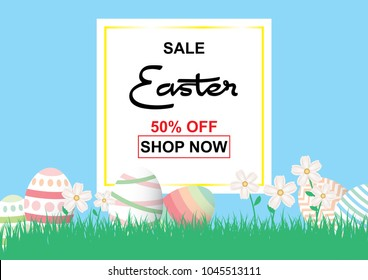 Easter sale background template 50% offer with colorful Easter eggs and beautiful flower and blue background with square frame. Vector illustration.