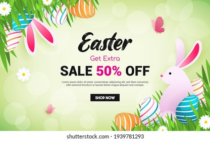 Easter Sale Background Vector illustration. Rabbit with Easter eggs on spring meadow frame