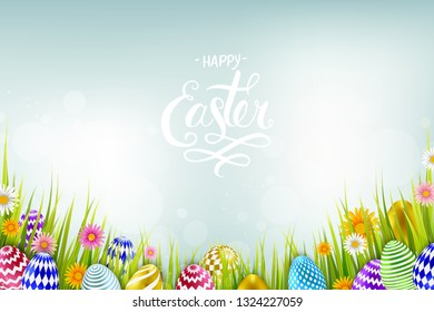 Easter sale banner background template with beautiful colorful spring flowers and eggs. Vector illustration