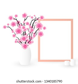 Easter sale banner background template with beautiful colorful spring flowers. Vector illustration