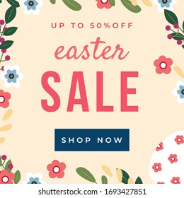Easter sale banner background template with beautiful colorful spring flowers and egg. Vector Easter concept. Easter symbols made in modern flat style.