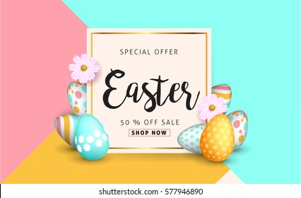 Easter Sale Banner Background Template With Beautiful Colorful Spring Flowers And Eggs Vector Illustration