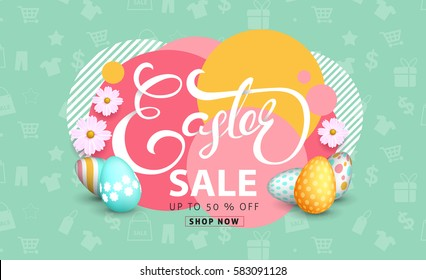 Easter sale banner background template with beautiful colorful spring flowers and eggs. Vector illustration.