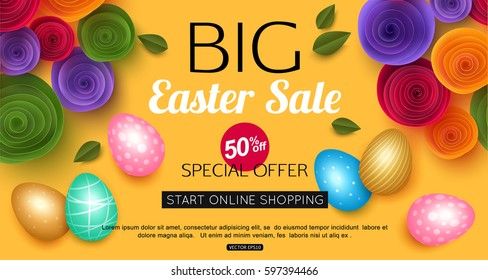 Easter sale banner with colorful eggs vector illustration