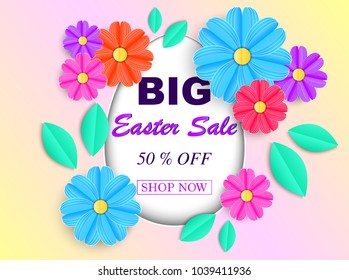 Easter sale banner with colorful flowers and leaves. Vector illustration