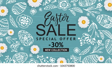 Easter Sale banner with hand drawn flowers, eggs on wood background.