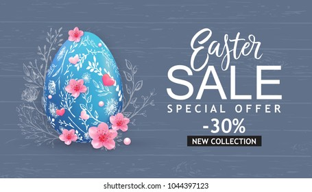 Easter Sale banner with hand drawn flowers, egg on wood background.