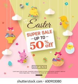 Easter sale banner for kids online shopping.
