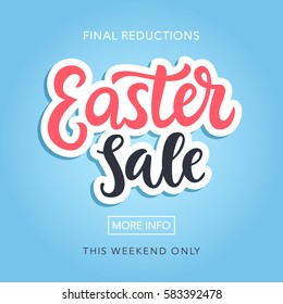 Easter Sale Banner Template Background with Beautiful Calligraphy. Vector Illustration