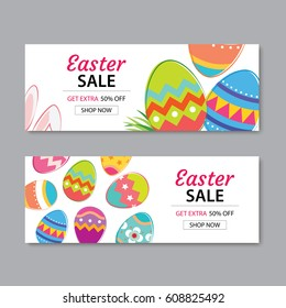 Easter Sale Banner Template Background.Can be used for voucher, wallpaper,flyers, invitation, posters, brochure, coupon discount,greeting card.