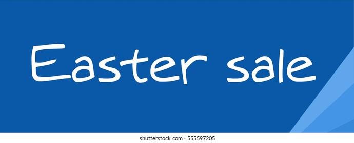 Easter sale banner vector blue