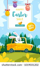 easter sale bunny car eggs mountains