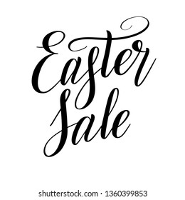 Easter Sale. Design element. Black isolated cursive. Brush pen lettering. Calligraphic style. Hand written inscription. Vector script.