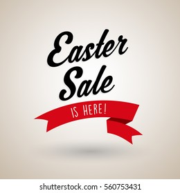 Easter Sale is here text with red ribbon.
