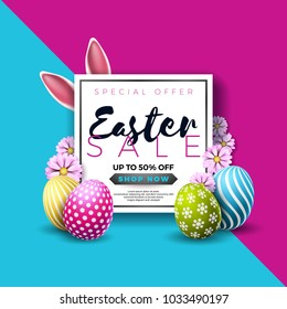 Easter Sale Illustration with Color Painted Egg and Typography Element on Abstract Background. Vector Holiday Design Template for Coupon, Banner, Voucher or Promotional Poster..