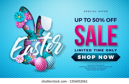 Easter Sale Illustration with Color Painted Egg, Spring Flower and Rabbit Ears on Blue Background. Vector Holiday Design Template for Coupon, Banner, Voucher or Promotional Poster.