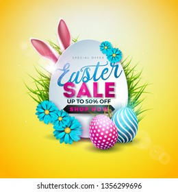 Easter Sale Illustration with Color Painted Egg, Spring Flower and Rabbit Ears on Yellow Background. Vector Holiday Design Template for Coupon, Banner, Voucher or Promotional Poster.