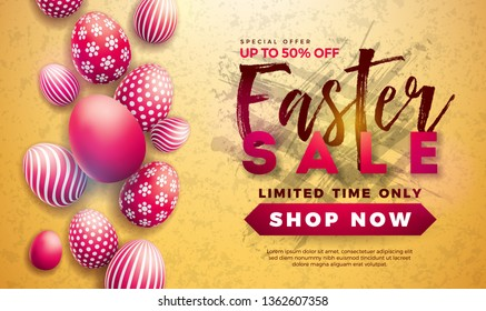 Easter Sale Illustration with Red Painted Egg on Yellow Background. Vector Holiday Design Template for Coupon, Banner, Voucher or Promotional Poster.