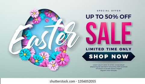 Easter Sale Illustration with Spring Flower and Typography Element on Grey Background. Vector Holiday Design Template for Coupon, Banner, Voucher or Promotional Poster.