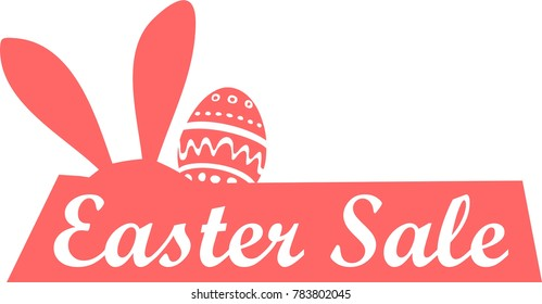easter sale logo, icon, rabbit symbol hare sign, bunny flat, vector egg