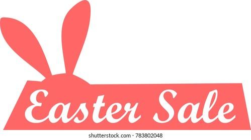 easter sale logo, icon, rabbit symbol hare sign, bunny flat, vector egg