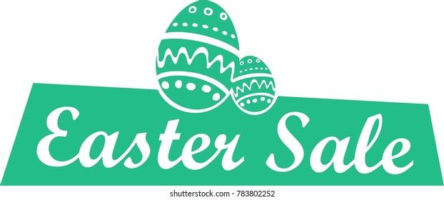 easter sale logo, icon, rabbit symbol hare sign, bunny flat, vector eggs