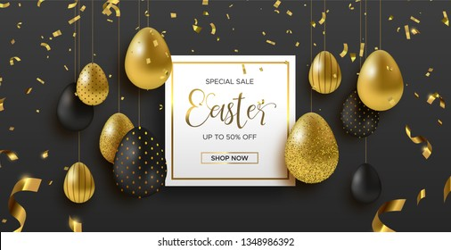 Easter sale luxury illustration of online business offer. Realistic 3d gold eggs with golden glitter for traditional spring holiday.